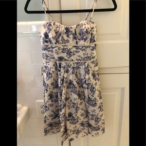 Off white dress with blue flowers